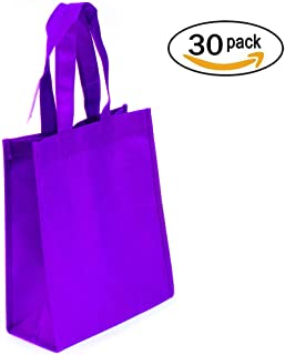 30-Pack Non-woven Reusable Tote Bags, Heavy Duty Non-woven Polypropylene, Small Gift Tote Bag, Book Bag, Non Woven Bag Multipurpose Art Craft Screen Print School Bag (Purple, Set of 30)
