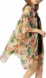 Vivilover Women's Floral Sheer Chiffon Beach Cover Up Kimono Cardigan Blouse Top
