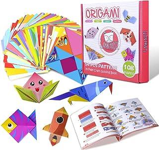 Gamenote Papier Origami, 108 Feuilles de Origami Enfant Double Face Papier Couleur de 54 Beaux Motifs Différents avec Manu...