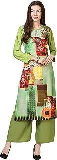 Florence Women's Green Crepe Digital Print Stitched Palazzo Kurta(FL-KT-137-PZ-018)