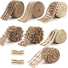 VGOODALL 7 Pack Jute Ribbons,Lace Craft Ribbon Burlap 14 Meters for Crafts Wraping Gifts Party Holiday and Rustic Wedding ...