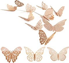 36 Pcs 3D Butterfly Wall Decals Sticker with Rose Gold Butterfly Decals Metallic Art Decorations Sticker with Set 3 Sizes ...