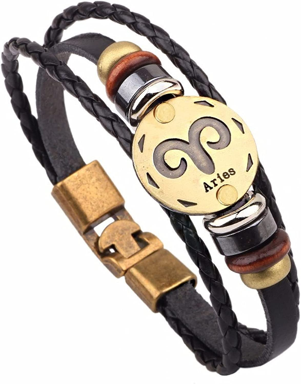 GTHT Men Bracelets 12 Horoscope Leather Cha Bracelet Jewelry OFFicial shop Ranking TOP11