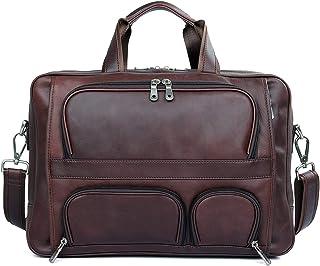 Men's Shoulder Bag Leather Business Men's Bag Large Bag Leather Briefcase 17 inch Laptop Bag (Color : Brown, Size : L)