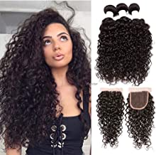 Perstar Water Wave Bundles with Closure (12 14 16+12) Unprocessed Virgin Brazilian Hair Wet Wavy Bundles With Lace Closure Free Part 100% Virgin Human Hair Extensions Natural Black Color