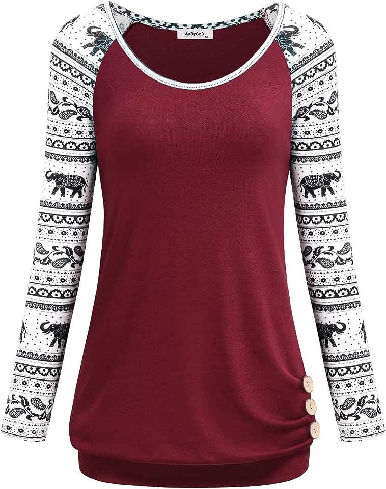 AxByCzD Women's Long Raglan Sleeve Round Neck Elephant Printed Button Sweatshirts Tunic Blouses Tops