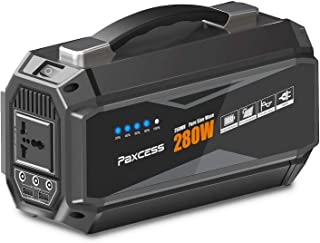 PAXCESS Portable Power Station, 280W/67500mAh Portable Generator with 110V AC Pure Sine Wave, 12.6V DC Ports,5V/ 3.1AUSB, CPAP Battery Power Supply, Solar Generator for Camping Home Emergency