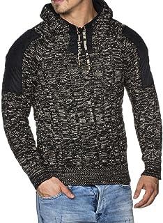 Tazzio - Maglia da uomo con cappuccio, lavorazione a maglia grossa, fantasia mélange, modello 16483