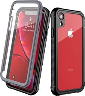 Clear Designed for iPhone XR Case,EONFINE Full-Body Heavy Duty Protection with Built-in Screen Protector Rugged Armor Cover Clear Shockproof Case for iPhone XR Case 6.1 Inch 2018 (Black)