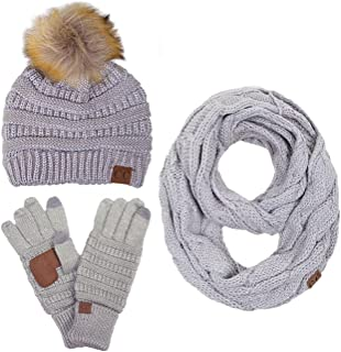 ScarvesMe 3pc Set Trendy Warm Chunky Soft Stretch Cable Knit Pom Pom Beanie, Scarves and Gloves Set