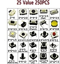 DaFuRui 250pcs 25 Values Tactile Switch Push Button Switch Micro Momentary Tact Assortment Kit