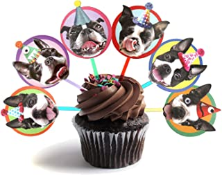 Boston Terrier Cupcake Toppers, set of 6 different birthday dogs party decorations