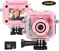 MYPIN Pink Kids Camera for Girls, 12MP HD Waterproof Action Camera / Video Recorder Camcorder with 32G SD Card