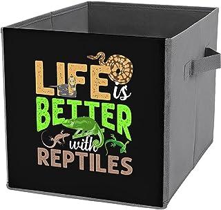 Life Is Better with Reptiles Gecko Caméléon Serpent Toile Pliable Grande Capacité Panier de Rangement Pliable Boîte de Ran...