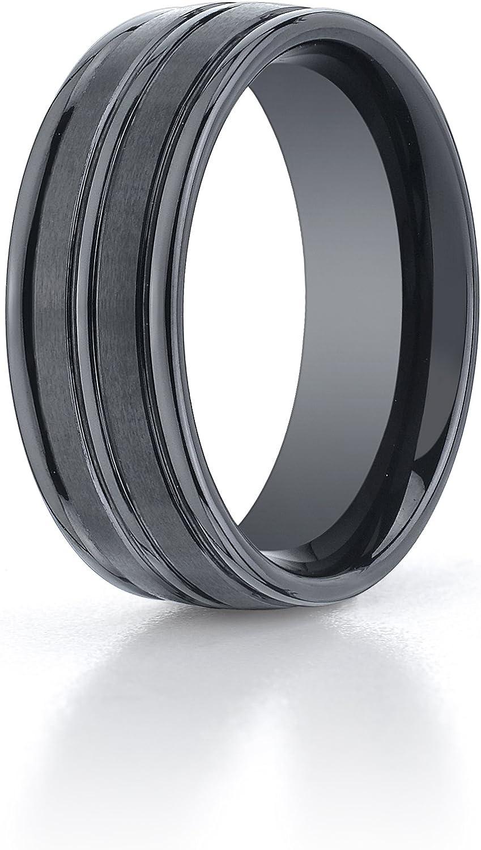 Aetonal Women's Ceramic 8mm Comfort Fit Satin High Polished Center Round Edge Wedding Band Ring