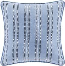Echo Design Kamala Striped Embroidery Square Pillow, 16 x 16, Blue