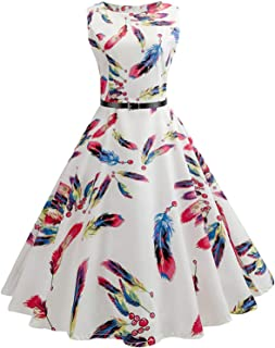 Henraly Women Summer Pin up Dresses 50s Rockbility Robe Plus Size A-Line Party Dress