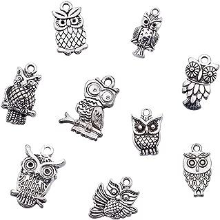 Kissitty 50-Piece Mixed Style Tibetan Antique Silver Owl Charms 0.63~1.18