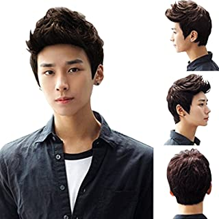 Brown Short Wig,Acecharming Men Fashion Synthetic Quiff Hair Wigs For Daily Use with Cap