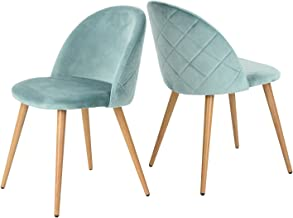 GreenForest Dining Chairs Set of 2, Modern Velvet Accent Leisure Side Chairs with Metal Legs for Living Room, Green