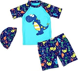 Digirlsor Baby Toddler Boys One Piece Rash Guard Swimsuit Kids Long Sleeve Sunsuit Beach Swimwear Cartoon Bathing Suit