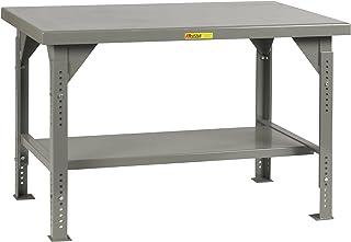 Gray 3000 lb 28-3//4-42-3//4 Adjustable Height x 48 x 24 Little Giant WSJ2-2448-AH Welded Steel Workbench Butcher Block Top 1 Half-Shelf Load Capacity