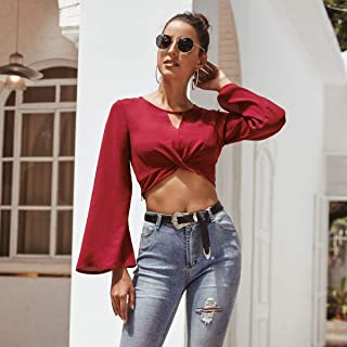 Women Trumpet Long Sleeve Round Neck T-shirt Tops High Quality (Color : Red, Size : S)