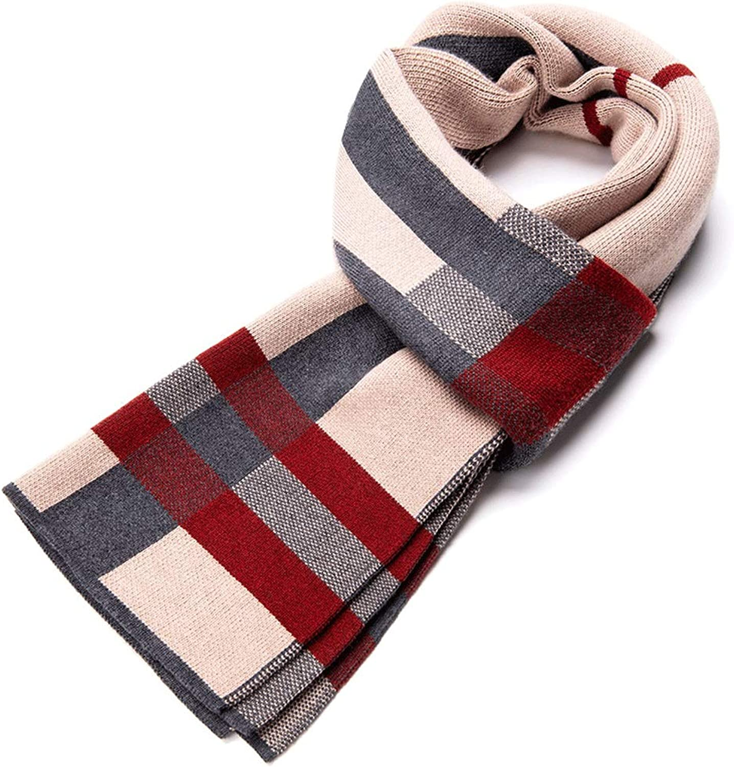 WXL Scarf Winter Thick Elastic Force Classic Stripe Young People Keep Warm 180cm×30cm V (color   Camel)