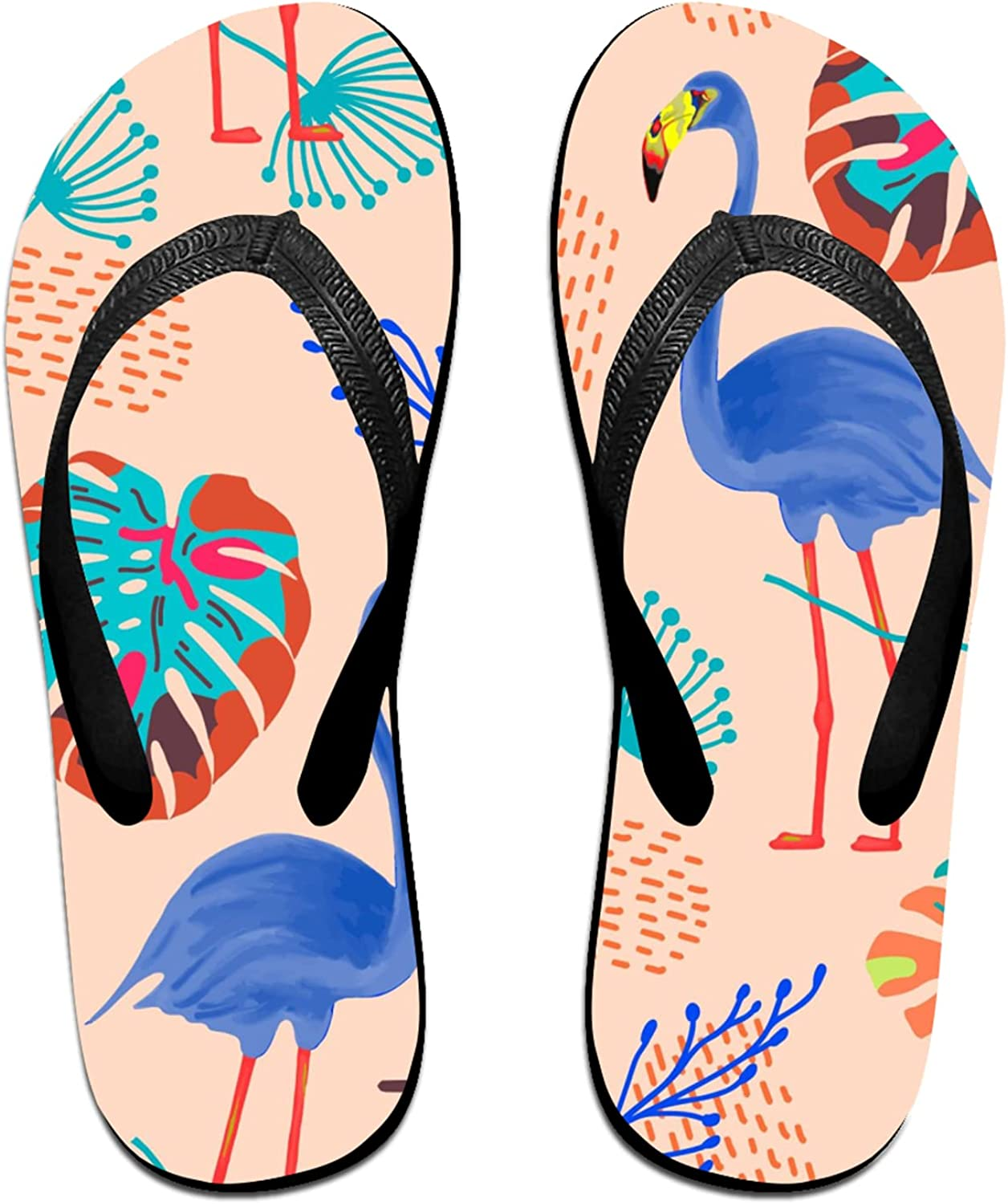 Max 44% OFF Watercolor Blue Flamingo safety and Exotic Flip-Flop Leaves for Sandals