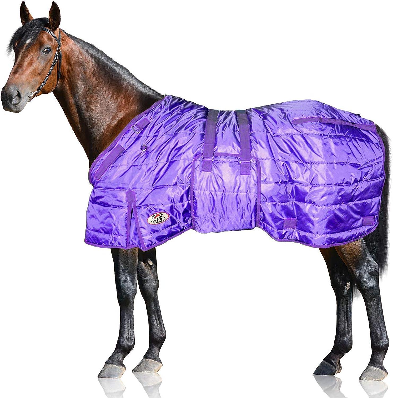 Derby Originals Windstorm Series 420D Mediumweight 200g Polyfil Horse Stable Blanket (69 , Purple with Purple Trim)