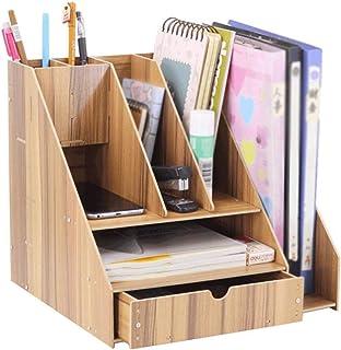 Bookshelf, Desk Shelf, Folder Storage Box, Pen Holder, Office Clutter, Desk, Bedroom, Living Room XJJUN (Color : Wood, Siz...