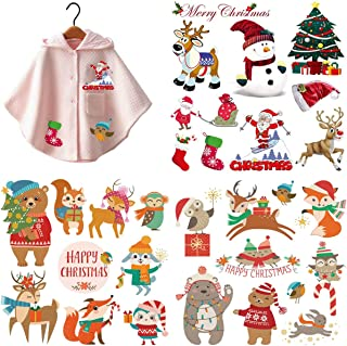 3 Sets Christmas Iron On Stickers Patches for Kids, Akwox Heat Transfer Stickers Appliques with Christmas Animals Motif Washable Decor for Baby Dress,Adult Dress