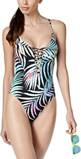 Bar Iii Tie-Dyed Lace-Up One-Piece High-Leg Swimsuit Black, Small