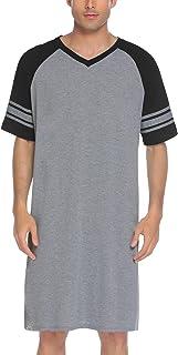 Ekouaer Mens Nightshirt V Neck Sleepwear Short Reglan Sleeve Nightwear Soft Loose Long Pyjamas Top