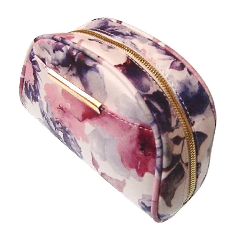 精算振動させるホットALTROSE アルトローズ - ブルーム 花柄 ラウンドファスナー コスメ 化粧ポーチ〈パープル 紫〉