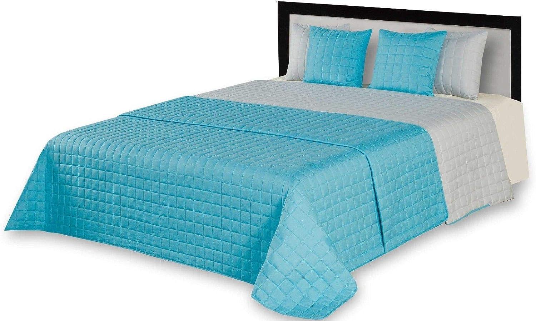 Beige, 2X 40x40cm 8205 Zweiseitige Tagesdecke Bett/überwurf Steppdecke Satin Kissenbezug gesteppt