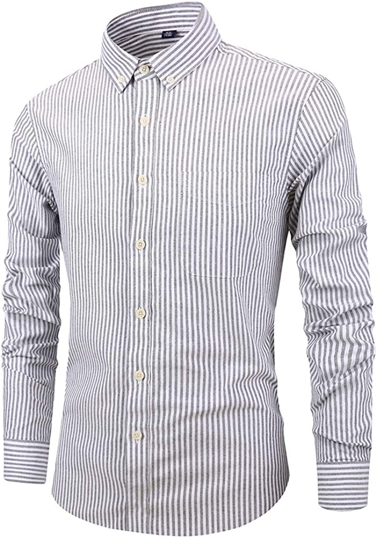 Itemnew Men's Striped Cotton Oxford Regular Fit Button Down Long Sleeve Formal Shirts