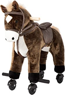 Kinbor Rocking Horse Ride-on with Sounds Plush Toy Walking Pony Wheels Birthday Gifts, Brown