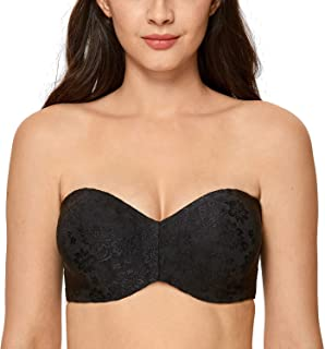 DELIMIRA Women's Floral Unlined Underwire for Large Bust Minimizer Strapless Bra