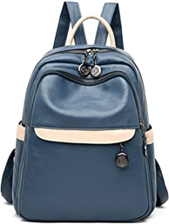 Cuero Mochilas Mujer Moda Bolso Escolar Niña Impermeable Backpack para Universidad Escuela Trabajo Viajes Mochilas Azul