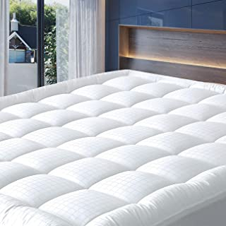 """Cosylifee King Mattress Pad Cover Thick Quilted Mattress Topper Cooling Mattress Protector Overfilled Cotton Top Pillow Top with Snow Down Alternative Fill (8-21""""Fitted Deep Pocket)"""
