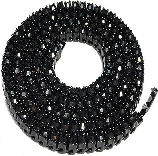 Collana con catena da tennis in cristallo con diamanti sintetici, color oro nero, 76,2 cm