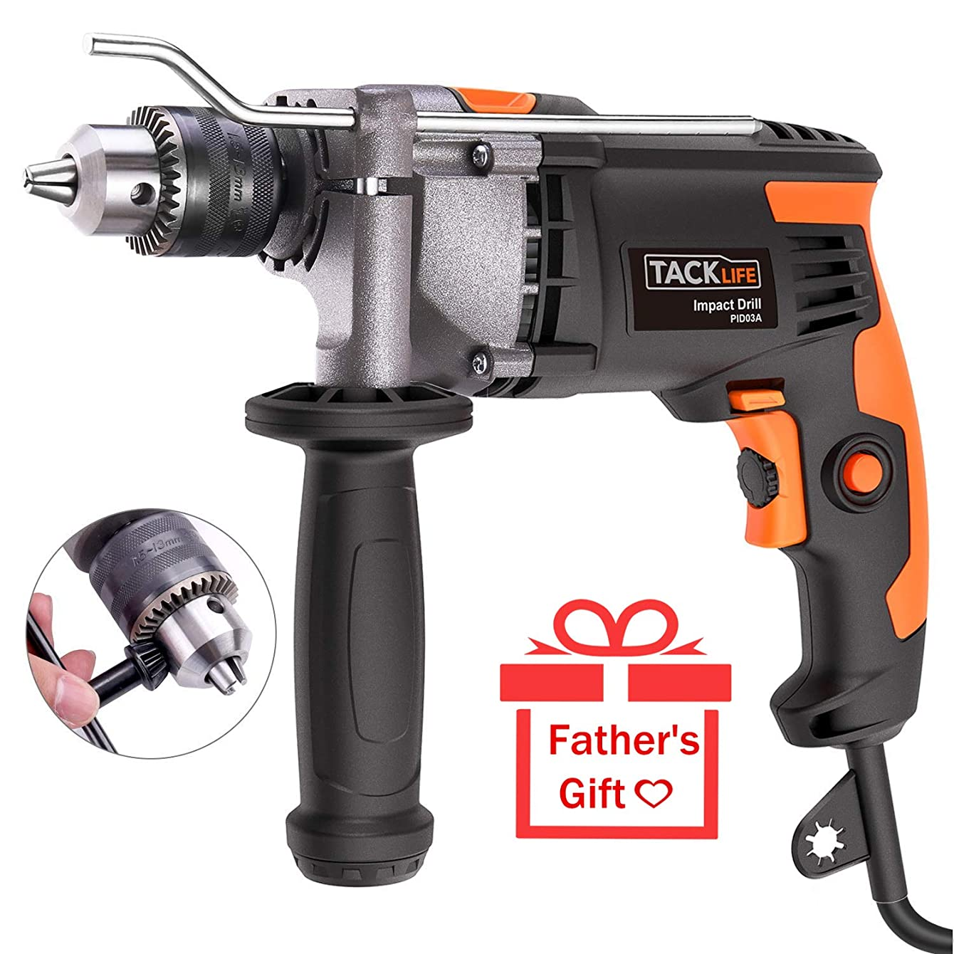 TACKLIFE Upgraded 7.1Amp/3000Rpm 1/2-Inch(13mm) Corded Hammer Drill with Aluminium Alloy Cover, Metal Rotating Handle, Variable Speed Trigger,Rotary Hammer, Ideal Tool for DIY - PID03A
