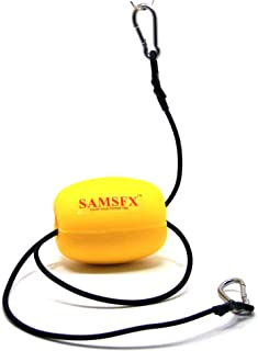 SAMSFX Kayak Float Drift Anchor Tow Nylon Rope Tow Line with EVA Buoy 304 Stainless Steel Clips Accessory