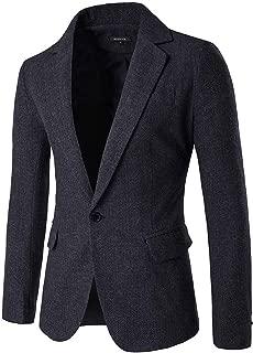 Mens Herringbone Fit British Style Blazer One Button Sport Coat