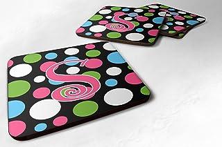 "Caroline's Treasures CJ1038-SFC Monogram-Polkadots and Pink Foam Coasters (Set of 4), Initial Letter S, 3.5"" H x 3.5"" W, M..."