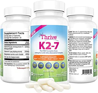 Just Thrive: Vitamin K2-7 - Bone and Heart Health Supplement - 30 Day Supply - 320mcg with Ultra Absorption - Protects Against Tooth Decay - Support Heart, Circulation, Brain, Bones, Nerve Health