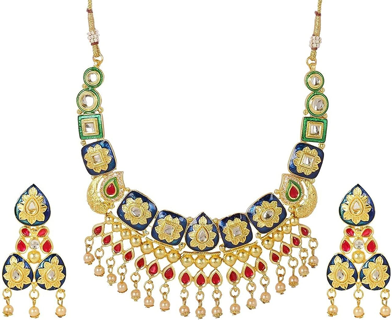 Efulgenz Indian Bollywood Bridal Wedding 14 K Gold Plated Faux Pearl Crystal Rhinstone Choker Necklace Earring Jewelry Set