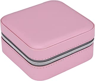 I-MART PU Leather Zipper Small Travel Jewelry Organizer, Box, Case, Storage with Mirror Pink