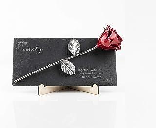 Rosa Eterna fatta di Ferro Battuto su ardesia con incisione personalizzata
